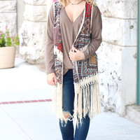 Boho Kinda Girl Fringe Printed Vest {Burgundy Mix}