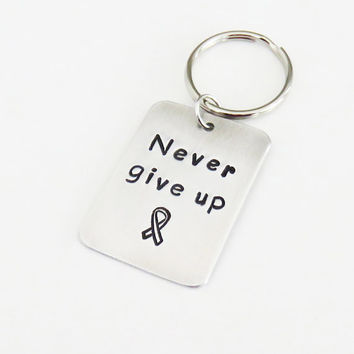Never give up key ring key chain charm pendant with cancer awareness ribbon - Inspirational gift - Cancer awareness cancer survivor gift