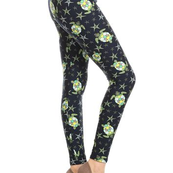 Women's Sea Turtle Leggings Star Fish Blue/Green: OS/PLUS