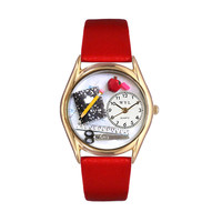Teacher Red Leather And Goldtone Watch