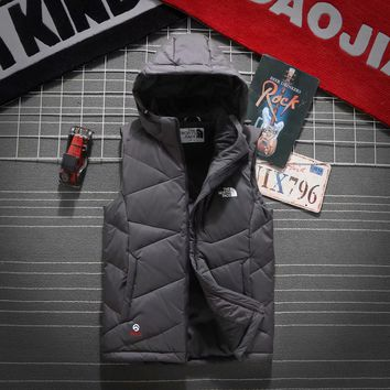 The North Face Men's Vest Winter jacket with hat Casual Sleeveless Jacket Down Vest Windproof Warm Waistcoat Casual Coats Size M-XXXL