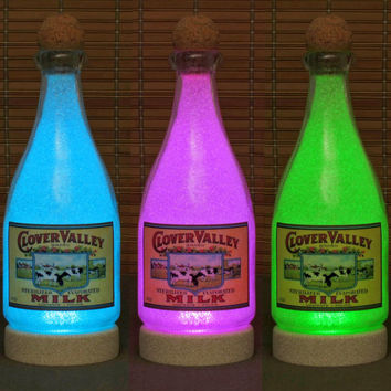 Vintage Style Handmade Color Changing Milk Bottle Lamp Light Remote Control 1 Qt
