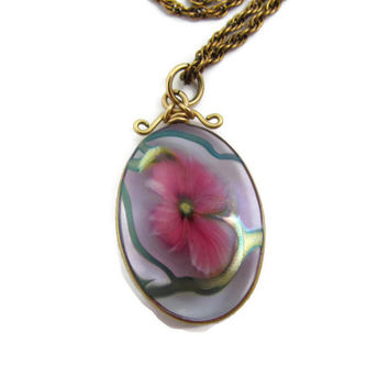 David Lotton Signed 1993 Glass Art Pendant Flower Cameo Pendant Necklace 14K Gold Fused Glass Flower Jewelry Lotton Pendant Signed