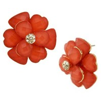 Button Earrings - Gold/Coral