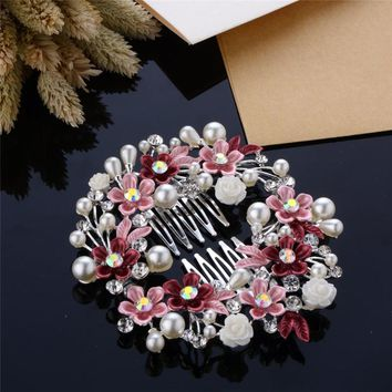 Cindiry Fashion Hair Jewelry Hair Comb Wedding Hair Accessories Simulated Pearl Crystal Bridal Leaf Flower Hairpin Bridal Gift