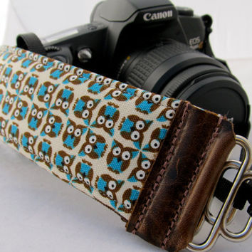 "Funky Camera Strap...""Woodland Owls"" dslr camera accessory"