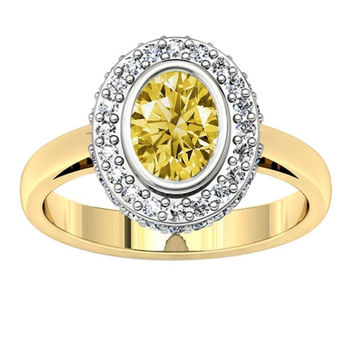Halo yellow oval diamond 1.21 carats solitaire with accents ring two tone gold 1