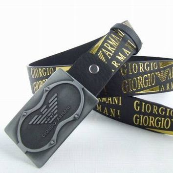 Cheap Armani woman's and men's leather smooth buckle belt belt sale-84336836