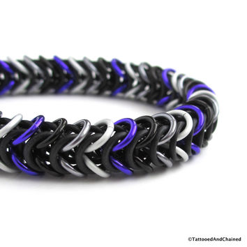 Ace pride stretchy bracelet, chainmaille box chain