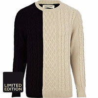 Ecru color block cable knit sweater - sweaters - sweaters / cardigans - men
