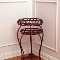 2 Pcs Wrought Iron Plant Stand - Antique Gold Color