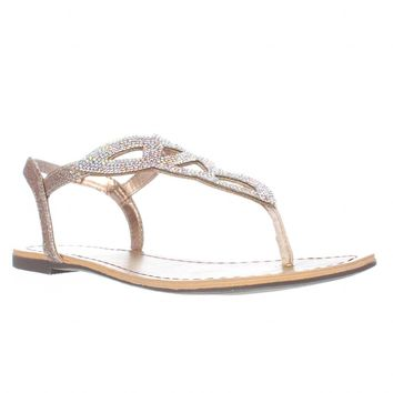 MG35 Swirlz Sparkle Flat Sandals, Blush, 6 US