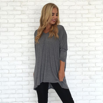 Frosted Silver Tunic Top