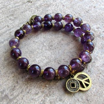 Emotional Healing, Genuine Amethyst 27 Bead Mala Wrap Bracelet