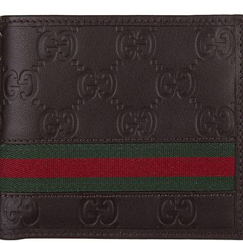 One-nice™ GUCCI MEN'S WALLET LEATHER COIN CASE HOLDER PURSE CARD BIFOLD GUCCISSIMA MAR 789