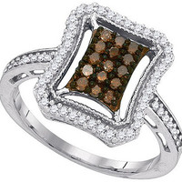 Cognac Diamond Fashion Ring in 10k White Gold 0.5 ctw