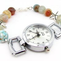 Wrist Watch, Womens Wrist Watch, Ladies Watch, Beaded Watch, Bracelet Watch, Starfish Watch, Woman's Watch