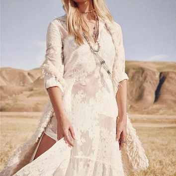 Summer Maxi Dress Bohemia Embroidery White One Piece Dress [505158205494]