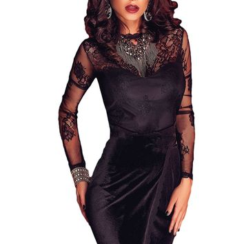 Black Premium Lace Velvet Long Sleeve Wrap Dress