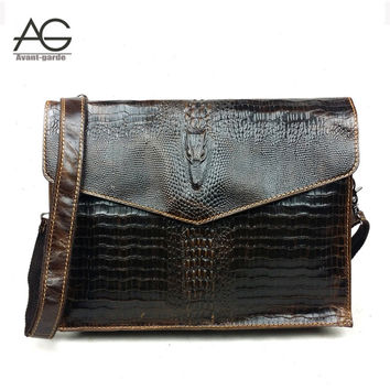2016 New Arrival Fashion 100% Genuine Leather Men Messenger Bags Vintage Alligator Shoulder Bag High Quality Business Handbags