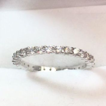 14k White Gold Layer On Sterling Silver 1 ct CZ  Eternity ring Band Size 8