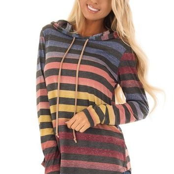 Multicolor Ombre and Charcoal Stripe Long Sleeve Hoodie