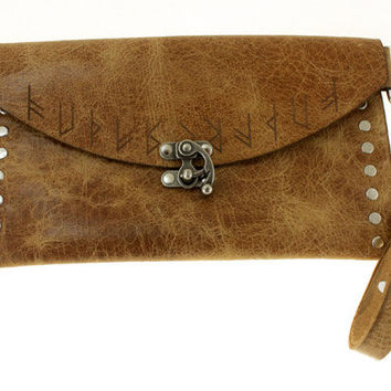 Stylized Viking and Rune Leather Clutch
