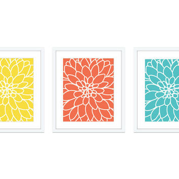Dahlia Flower No.2  Digital Print Set - Art Wall - Modern Home Decor - Yellow Coral Aqua Blue - Bright Spring Summer Colors - Contemporary