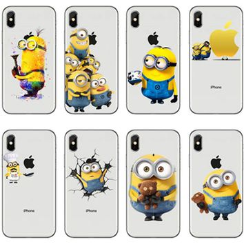 2018 New Designs Funny Despicable Me Minion Case Cover For iphone XS Max 8 6 5s X fundas Transparent Soft Clear Gel holster