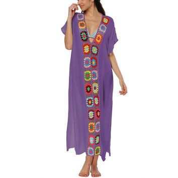 Bohemian Breeze Embroidered Floral Maxi Dress