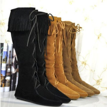Hight Quality Free Shipping  Cow Leather Lace Up Knee High Fringe Flat Boots womens flat shoes moccasin Women Boots
