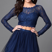 Two Piece Long Sleeve Lace Homecoming Dress
