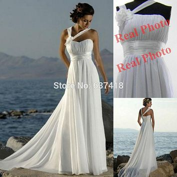 Vestidos de Noiva White Ivory Champange Cheap Wedding Dress Beach Bohemian Wedding Dress Plus Size Simple Summer Wedding Dress