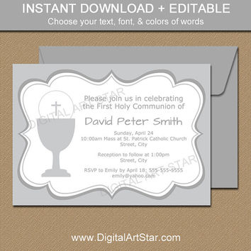 Printable First Communion Invitations - EDITABLE Gray First Communion Invites - Silver First Communion Download - Elegant Invitations