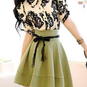 Green Turn Down Collar Ruffled Floral Dress
