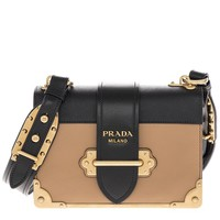 Prada Women's Cahier Calf Leather Handbag Brown
