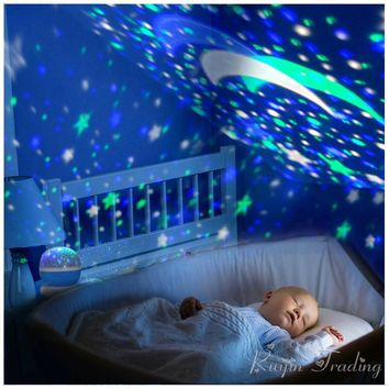LED Rotating Star Projector Novelty Lighting Moon Sky Rotation Kids Baby Nursery Night Light Battery Operated Emergency Lamp