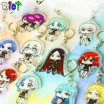 5Pcs/Lot The kingdom of gem Q Version Keychain Benitoite Figure Model Kawaii Cute Acrylic Transparent Double Sided Keyring Gift