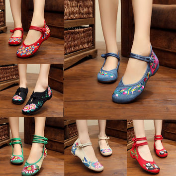 Chinese Flat Heel With Flower Embroidery Soft Canvas Shoes