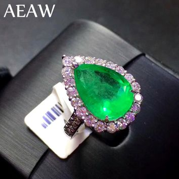 AEAW 4ct AAA Pear Lab Created Colombian Emerald CCE Emgagement Ring Genuine Solid 14k White Gold with Lab Diamond Moissanite
