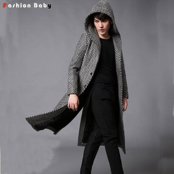 Hot Men's Herringbone Tweed Thick Hooded Trench Coat Autumn Winter Fashion Slim Fit Woolen Blends Parka Coats Black 2017 New