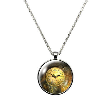 Stuck in Time - Necklace Jewelry stainless steel casing crystal glass pendant with a vintage time piece print.