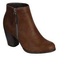 Reneeze BABA-02 Stacked Heel Zipper Ankle booties - BROWN-9