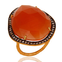 Designer Peach Moonstone Handmade Solid Sterling Silver Yellow Gold Plated Ring