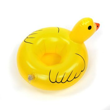 Swimming Pool beach Mini water Coasters boia Duck inflatable cup holder  drink float can beer sand seat yeti Water Bottle AccessoriesSwimming Pool beach KO_14_1