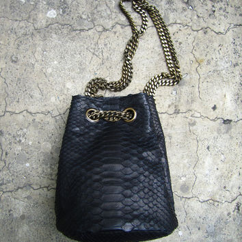 Jet Black Python Snakeskin Small Leather Shoulder Bucket Bag