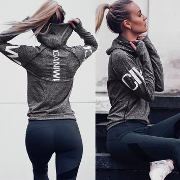 Women Hoodie Jackets Hat Outerwear Hoodies Long-Sleeve Workout Sweatshirt Jacket Women Fitness Tops
