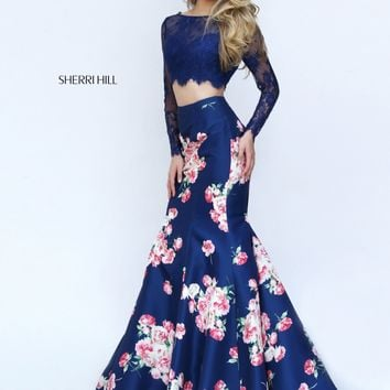 Sherri Hill 50488 Navy Floral Print Two Piece Mermaid Dress