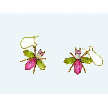 Czech Glass Rhinestone Fly Earrings, Pink Body and Light Green Wings, Pierced Style Earrings