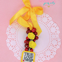 Red and yellow RED FRIDAY deployment true love is waiting for you rear view mirror charm dangle